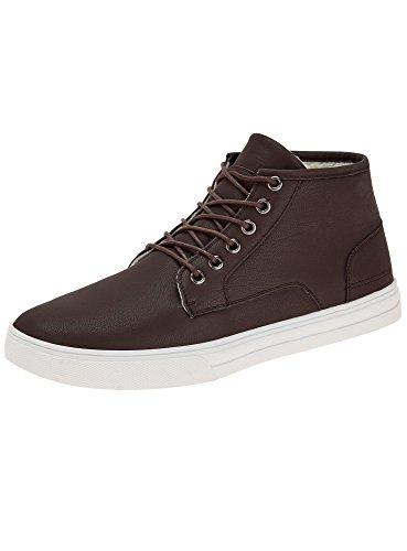 Oodji ultra uomo scarpe in pelle sintetica con lacci, marrone, 43 eu/9 uk