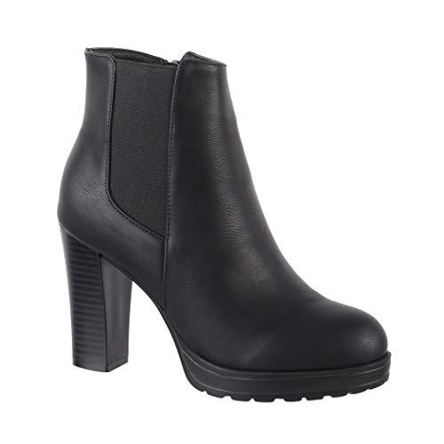 Elara Damen Stiefelette |Trendige Ankle Boots | Chunkyrayan Neu-BK3237 Black-37