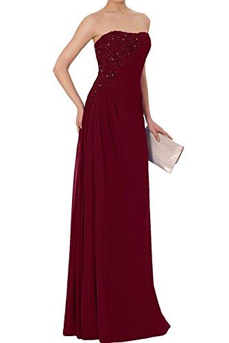 La_Marie Braut Elegant Chiffon lang Spitze Brautmutterkleider Abendkleider Partykleider Etuikleider Neu Weinrot
