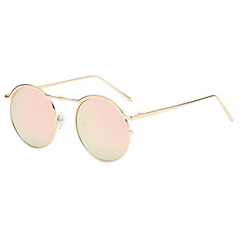 EUCoo Kleine Sonnenbrille Unisex-Mode Fein Metall Brillengestell Runde Sonnenbrille(B)