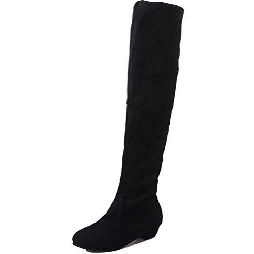 DoraMe Damen Stiefel Kniehohe Stiefel Damen, DoraMe Frauen Winter Herbst Flache Stiefel Hohe Bein Lange Stiefel Wildleder Elastische Schuhe (Schwarz, 39)