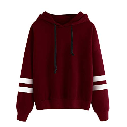 Sweat à Capuche Femme, Sweatshirt Hoodies Pull en Coton à Manches Grande Taille Veste de Sport avec Poches Longues Tops Blouse Shirt Streetwear (Rouge, S)