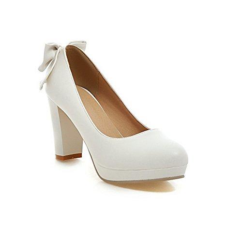 AllhqFashion Damen Ziehen Auf Pu Rund Zehe Hoher Absatz Rein Pumps Schuhe Weiß