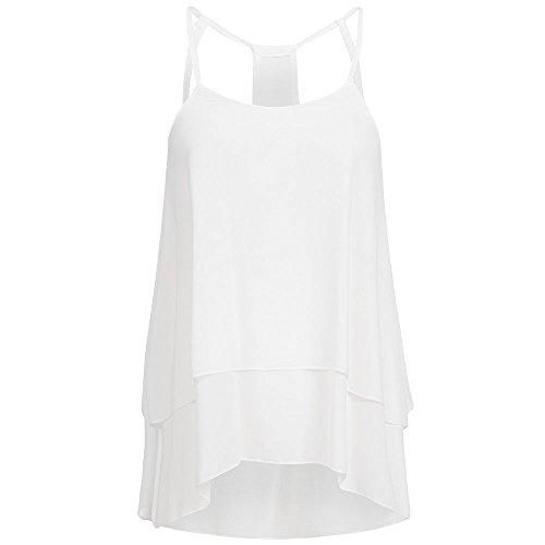QingJiu Damen Top Frauen beiläufiges Chiffon Rundhals Sommer T Shirt ärmellose Weste Trägershirts Bluse Bewegung Unterhemd