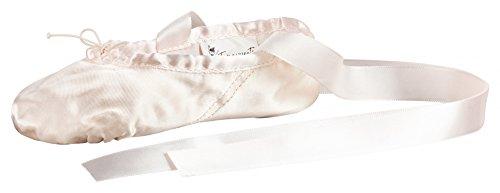 tanzmuster Ballettschuhe / Ballettschläppchen aus Satin, geteilte Ledersohle, rosa, Größe:35