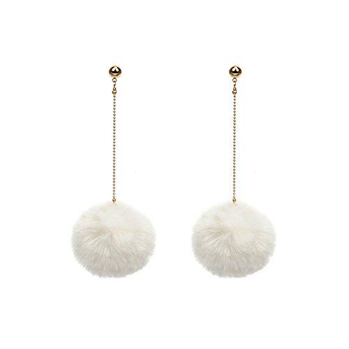 TININNA Mode Mignon Pom Drop Boucles d'oreilles Femmes Filles Longues Franges Ear-ring Bijoux Blanc