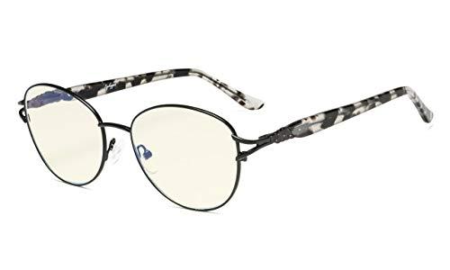Eyekepper-Computer Brille,Blaulichtfilter Brille,Stilvoll Katzenauge Round Frame Women,Schwarz