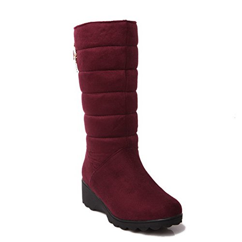 agoolar-womens-pull-on-round-closed-toe-low-heels-imitated-suede-low-top-boots-claret-35