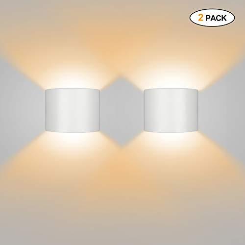 Wandleuchte LED Innen/Außen 2er 12W 2800-3000K Warmweiß Wandlampe Außenleuchte Wandbeleuchtung LED Außenwandleuchte mit Einstellbar Abstrahlwinkel IP65 Wasserdichte 750lm -