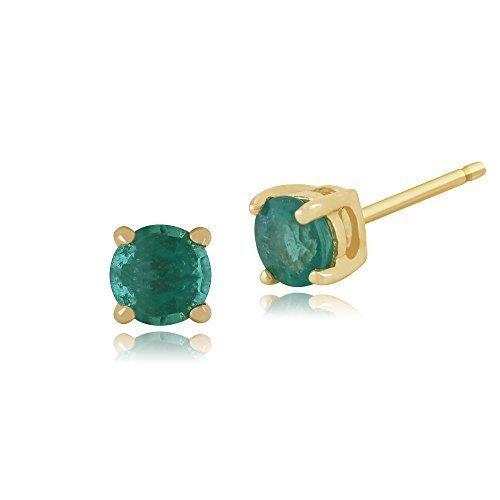 Pendientes de esmeralda Gemondo, 9ct oro amarillo 0.36ct 4 verde esmeralda pendientes redondos del perno prisionero de garra de 3,50 mm