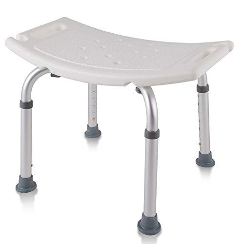 AUFUN Duschhocker Duschstuhl 38-53cm Höhenverstellbar Duschhocker Anti-Rutsch Badsitz Duschhilfe Duschsitz aus Alu und Kunststoff für Alter, Schwangere aus