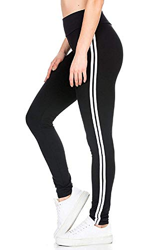 All Comfort Gym wear Leggings Ankle Length Free Size Workout Trousers | 2 White Striped Stretchable Jeggings | High Waist Sports Fitness Yoga Track Pants for Girls & Women (Black)