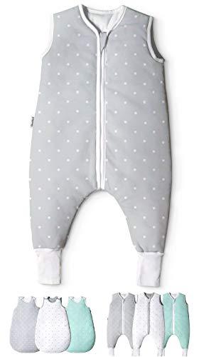 Ehrenkind® Babyschlafsack mit Beinen   Bio-Baumwolle   Ganzjahres Schlafsack Baby Gr. 100cm Farbe Grau mit weißen Punkten