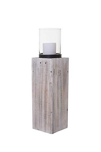 """Windlicht Windlichtsäule Kerzenhalter Säule Recycling Holz \""""Lumira\"""" 60 cm hoch Shabby Chic Weiß"""