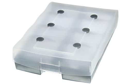 HAN Archivbox CROCO-DUO 9987-693 in Transluzent-Grau / Hochwertiger Karteikasten mit A-Z Register / Für bis zu 2.200 DIN A8-Karten
