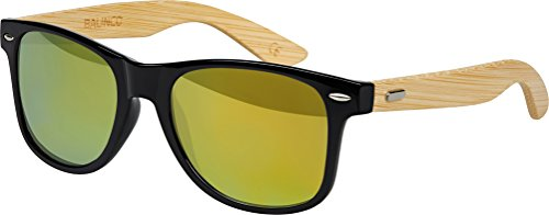 Hochwertige Bambus Holz Nerd Sonnenbrille Rubber im Wayfarer Stil Retro Vintage Unisex Brille mit Federscharnier - 9 verschiedene Farben/Modelle wählbar (Bambus - Gold verspiegelt)