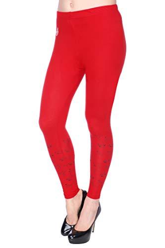 Red_Print_P12_40 : Plus Size Women's Cotton Lycra Bottom Printed Designer Ankle length Leggings/Yoga Pant