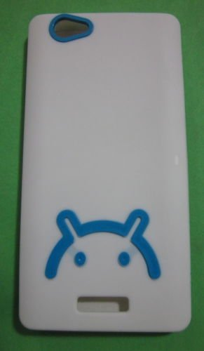ECellStreet Exclusive Android Logo Smiley Rubberised Soft Back Case Cover Back Cover for Gionee M2 Marathon M2 - Blue in White  available at amazon for Rs.149
