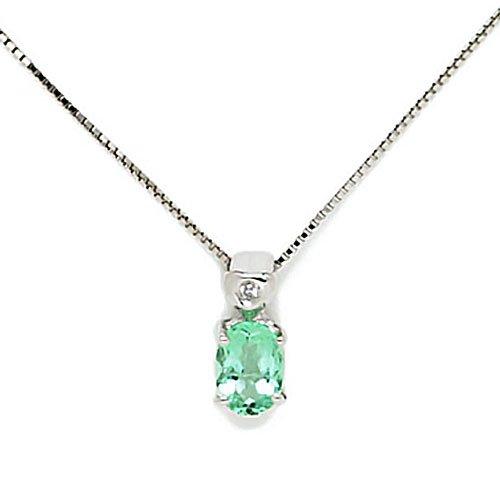 Gioie Girocollo Donna in Oro 18 carati Bianco con Smeraldo e Diamante H/SI (totale diamanti 0.01 ct), Cm 42, 2.7 Grammi