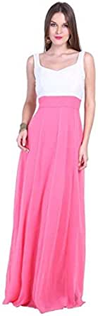 D & S Women's A-line Dress(DNSOCT316XL_Pink & White_X-Large)