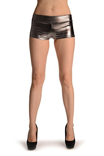 Faux Leather Shorts - Blickdicht Shorts Einheitsgroesse (34-40) Grau