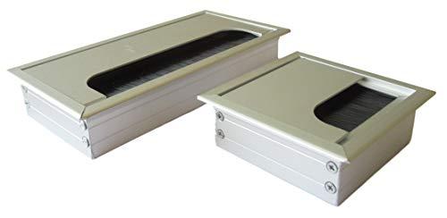Kabeldurchführung für Schreibtisch, Arbeitstisch, Werkstatt – Aluminium gebürstet – 80x80mm o. 160x80mm, 1 oder 2 STK -Auswahl-