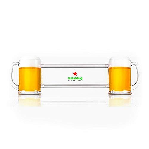 Womdee Doppel Bier Set, Zwei Glas Bierkrüge 32 Unzen Siamesische Bier Tasse, gleiche Tasse Trinken für Bar BBQ Party (Personalisierte Tassen Für Die Parteien)