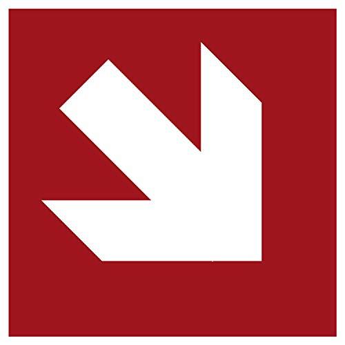 Brandschutzaufkleber Richtungsangabe Rechts Unten| Nachleuchtend nach DIN 67510 in grün | Selbstklebend Folie für Betriebe, Produktion & Kliniken | 150 x 150 mm | PlottFactory