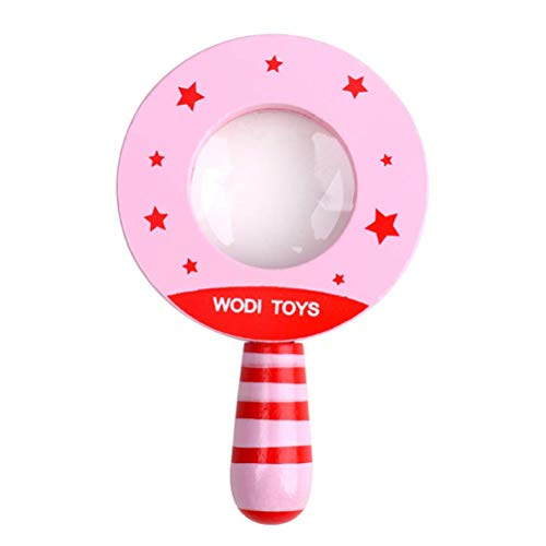 Egosy Baby Classic Baby Holz Vergrößerungsspielzeug Pädagogisches Lernen Lupe Kinder Entwicklungsspielzeug Lernspielzeug für Kinder(Pink) -