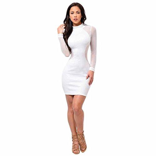 Frauen Mesh Langarm Kleid TUDUZ Damen Minikleid Etuikleid Cocktialkleid Trikotanzug Kleid (Weiß, S)