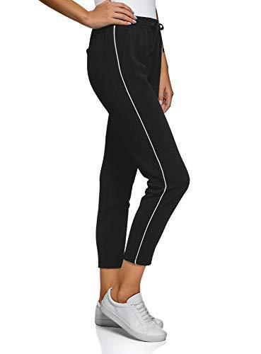 Oodji ultra donna pantaloni in tessuto testurizzato con strisce laterali, nero, it 44 / eu 40 / m