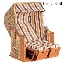 Sonnenpartner Gartenstrandkorb Rustikal 250 PLUS 2-Sitzer, Liegemodell Kunststoffgeflecht Naturoptik, Stoff 129