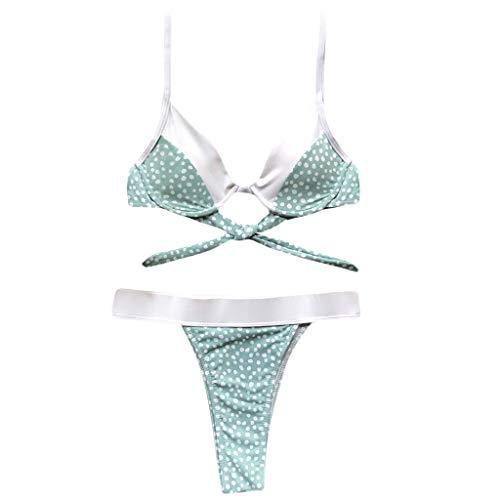 JERKKY Zweiteiler Bikini Set Frauen Sexy Farbblock Vintage Polka Dot Druck Badeanzug Push Up Bügel BH Hohe Taille Dreieck Böden Badeanzug Mint Green M # -