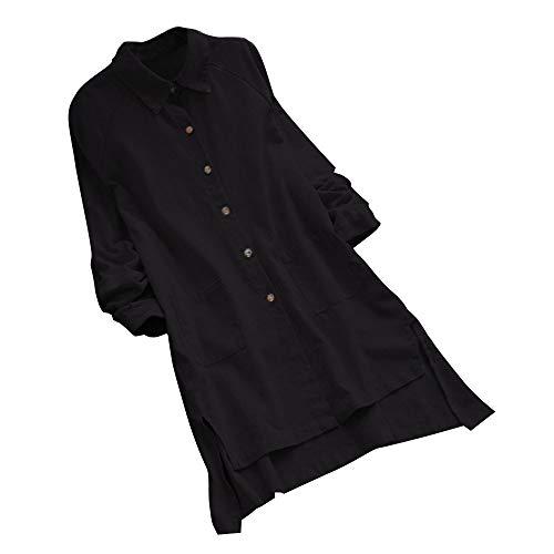 VWsiouev Frauen Plus Größen-Baumwoll- und Leinen-Druck-Oansatz-Lange Hülsen-beiläufige Lange Tunika-Oberseiten-T-Shirt Bluse (Dessous Camouflage Größe Plus)