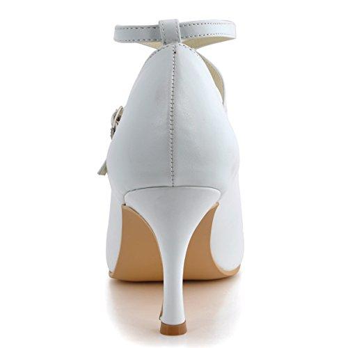 ElegantPark EP31032 Donna Finta Pelle Punta Chiusa Tacco A Spillo Fibbia Partito Scarpe Da Sposa Bianco