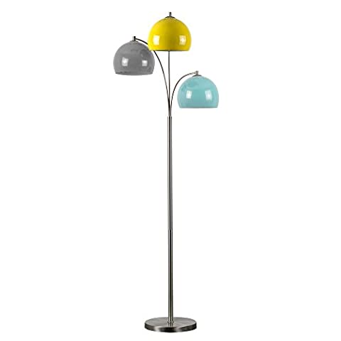Modern Designer Style 3 Way Brushed Chrome Floor Lamp - Complete with Mini Arco Style Yellow, Pale Blue & Grey Dome Shades