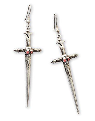 Zinn-Ohrringe mit gotischem Totenkopf auf Schwert, -
