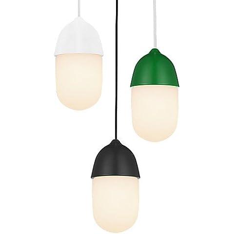 LYNDM-Mejor regalo de Navidad,Bellota 1 Luz/lámpara colgante moderno/sencillez/Negro/Blanco/Gris/marrón/verde/acabado de vidrio y acero al carbono/Droplight , 220-240 v-blanco