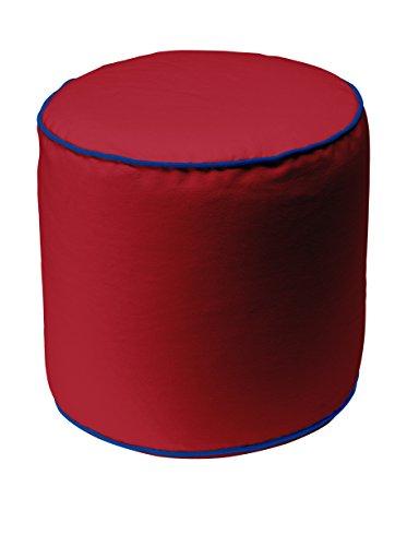 Links - Bicolor 2 cylindre pouff. Dim. 47x47x45h cm. Cotone misto luna rosso (det. Blue)