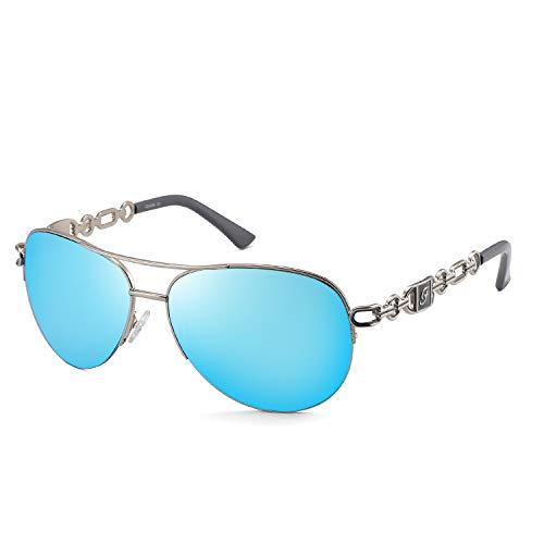 Sonnenbrille für Damen Klassische Flieger Frauen Metall Verspiegelte Linse Fahren Mode UV400-Schutz 4 Farben 0257