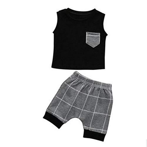 Naisicatar Sommer-Baby-Jungen-Klage graues Kariertes Taschen Vest Tees Shorts Kleidung Sets 2Stk Baumwollbeiläufiges Sommer-Outfits für Jungen (43in) Nizza Geschenk