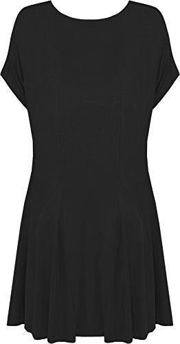 WearAll - Haut flottant à manches courtes avec ourlet irrégulier et crâne clouté - Hauts - Femmes - Grandes tailles 42 à 56 Noir