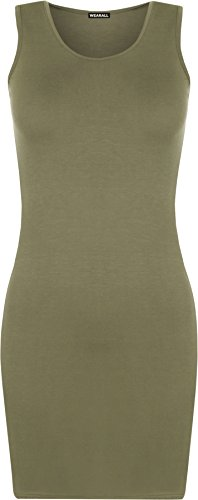 WearAll - Damen Racerback Einfarbig Ärmellos Figurbetontes Mini-Kleid Vest Top - Grun - 40-42 (Top Scoop Back Neck)