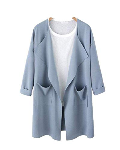 Damen Jacken Oversize Cardigan Frühling Apparel Herbst Einfarbig Trenchcoat Lang Langarm Mit Taschen Young Fashion Outerwear Mantel (Color : Hellblau, Size : 2XL)