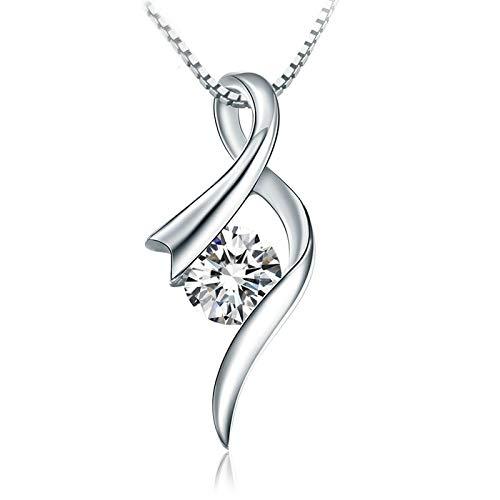 SonMo 950 Platin Damen Halskette Halskette für Damen Runden Goldkette Damen 0.3Kt Diamant Geschenk für Frauen Silber
