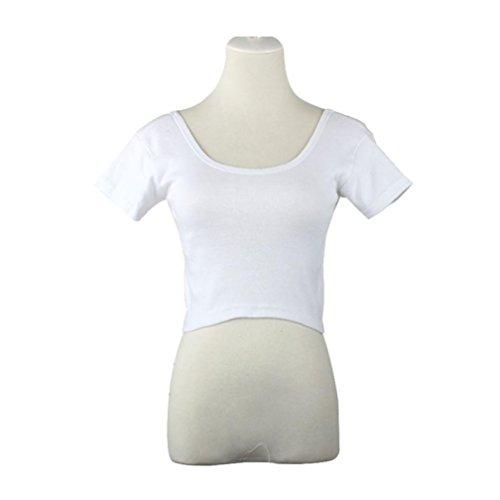 Damen T-Shirt ,Honestyi Kurze Ärmel Frau Grundlegende T-Stücke Oberteile Kurz geschnittenes T-Shirt Bluse O-Asschnitt Weste Mode Tops (Freie Größe, Weiß) (Langarm-t-stücke Verschiedene)