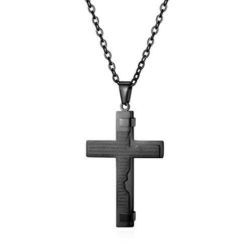 JewelryWe Herren Halskette, Edelstahl Englisch Bibel Gebet Kreuz Anhänger mit 55cm Kette, Schwarz, Ostern Geschenk