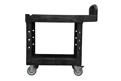 Rubbermaid Commercial Small Lipped Shelf Heavy Utility Cart - Black