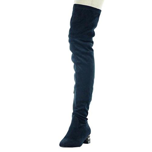 5 Coscia Alto Flessibile Angkorly 4 Donna Modo Blu Blocco Cm Gioielli Scarpa Tacco OqTf6Cnwf