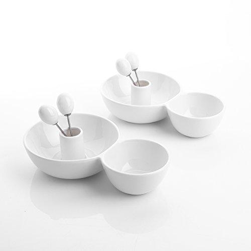 Lot de 2pcs Assiette Apéritif Coupelle Bol Tapas Sauce Plat Coupe à Dessert Porcelaine Série Special.Shap